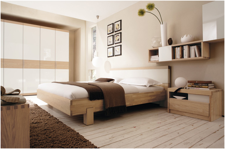 Modern Bedroom Design with Wall Shelf