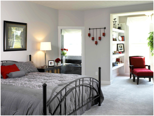White Bedroom Design with Sense of Red and Gray