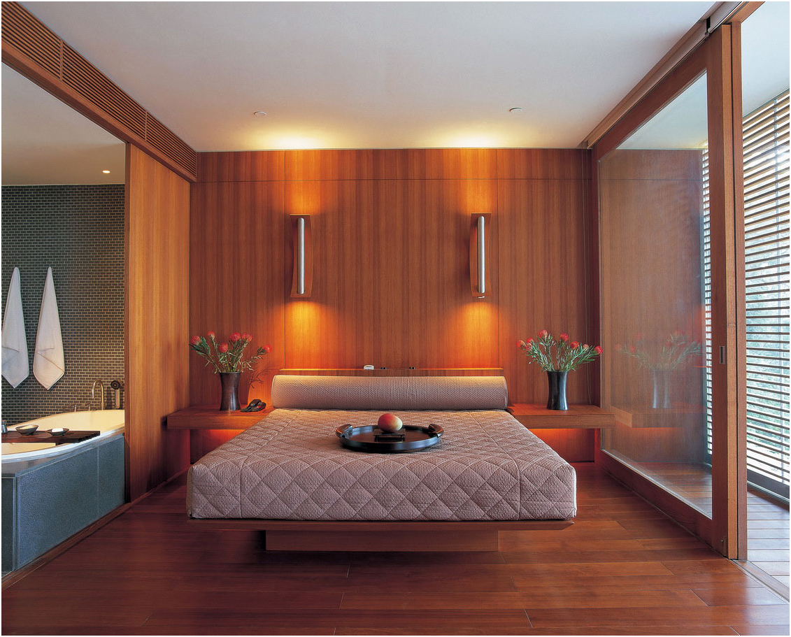 Modern Wall and Wooden Floor Bedroom Design Idea