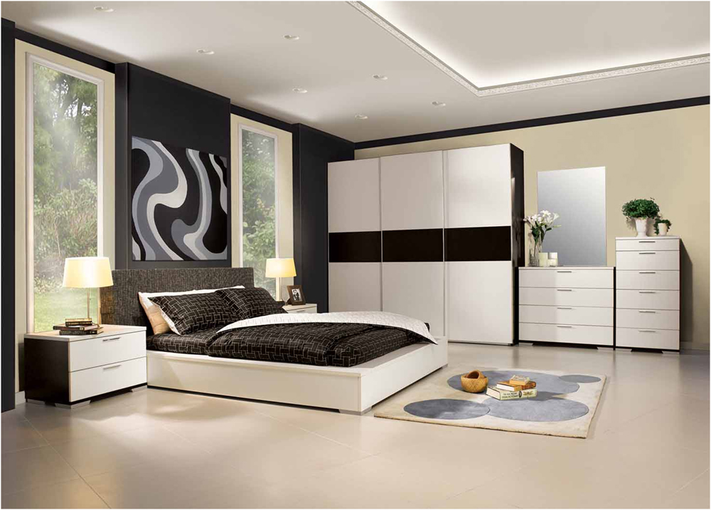 Shabby Chic Black and White Bedroom Design Idea