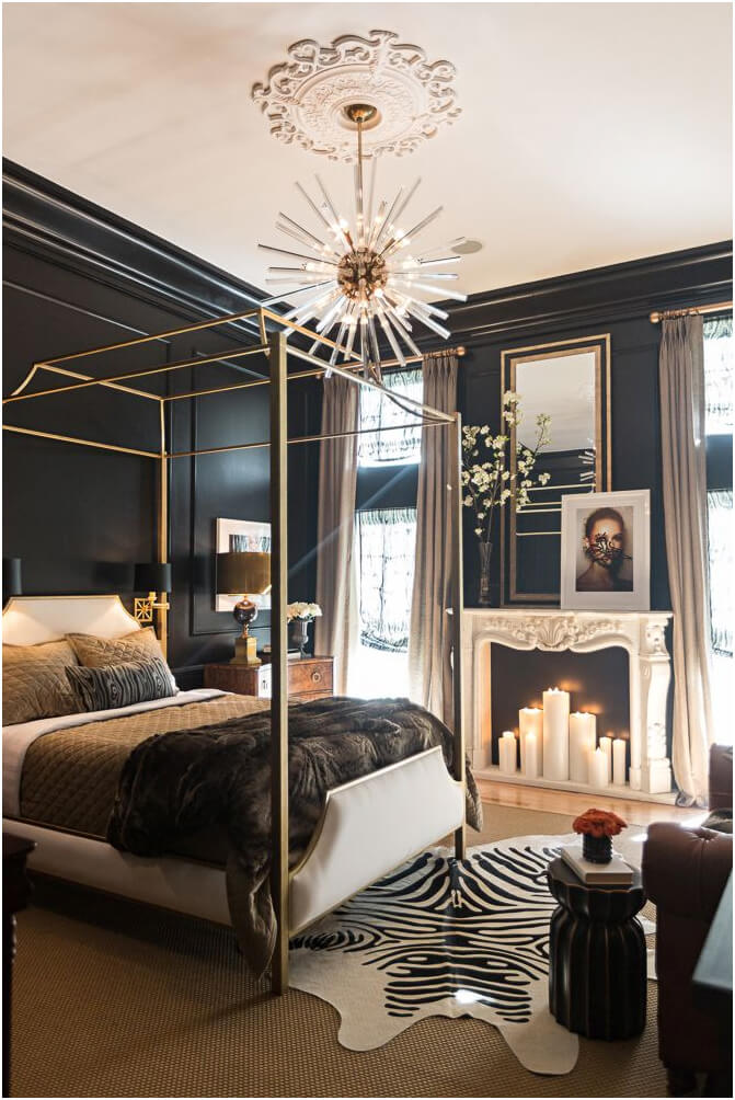 Classic Black and White Bedroom with Golden Touch