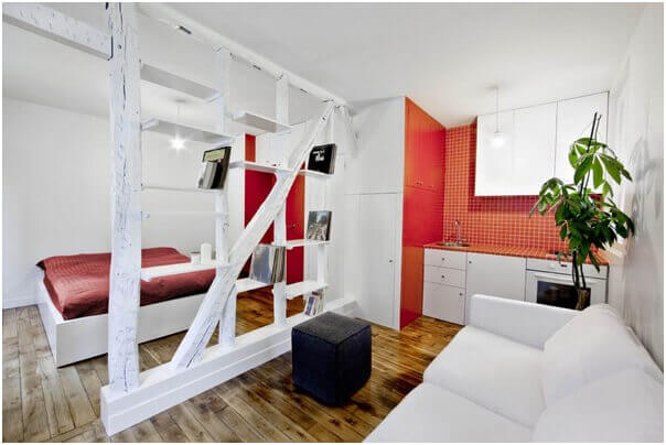 Red and white small apartment design, apartment interior design, small apartment ideas